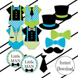 Little Man Diaper Cake Topper Decorations - Turquoise & Lime