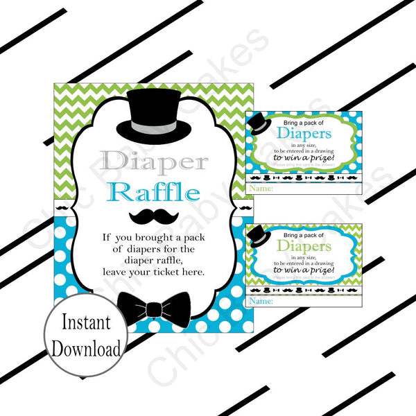 Blue & Green Little Man Diaper Raffle Sign & Tickets