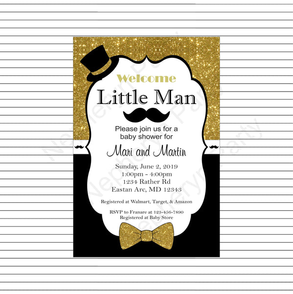 Black & Gold Little Man Baby Shower Invite