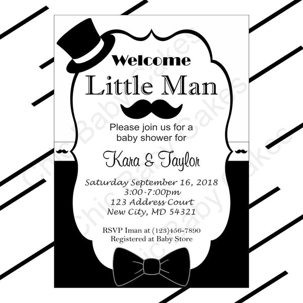 Black & White Little Man Baby Shower Invitation