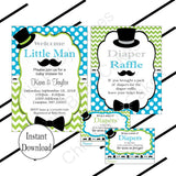 Printable Little Man Decoration Pack - Turquoise, Lime