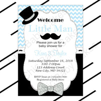 Light Blue & Black Little Man Baby Shower Invitation