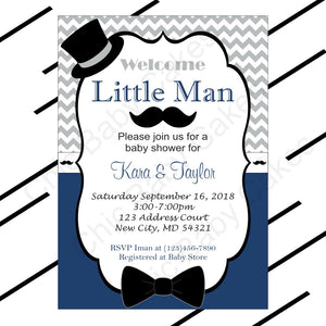 Navy & Gray Little Man Baby Shower Invite