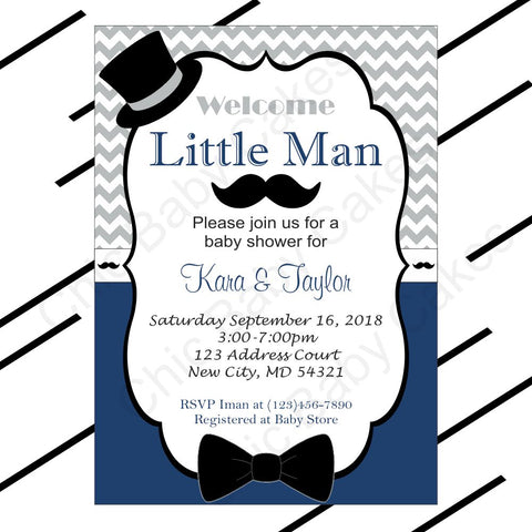 Little Man Invitation - Navy, Gray