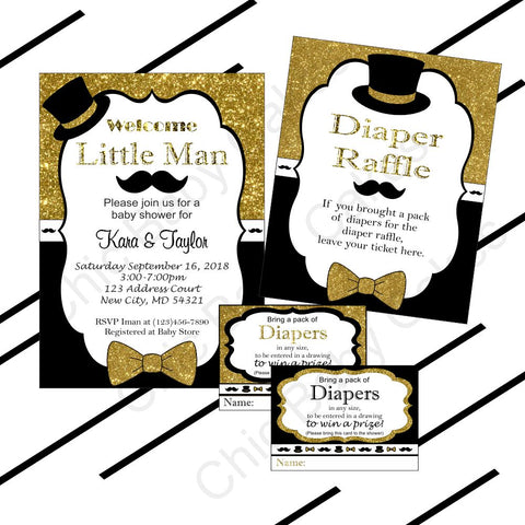 Black, Gold Little Man Invitation, Raffle Bundle