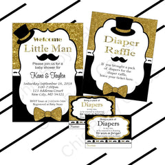Black & Gold Little Man Invitation & Raffle Bundle