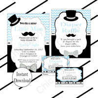Light Blue & Black Little Man Baby Shower Invite Set