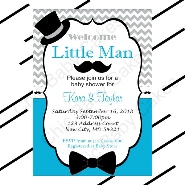 Blue & Gray Little Man Baby Shower Invite