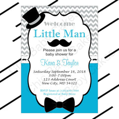 Turquoise & Gray Little Man Baby Shower Invitation
