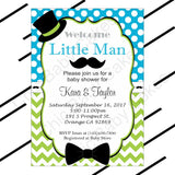 Little Man Invitation Set - Turquoise & Lime