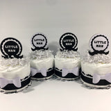 Little Man Diaper Cake Centerpieces - Black, White