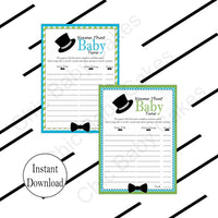 Printable Little Man Baby Shower Game Pack - Turquoise & Lime