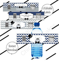 Navy & Gray Little Man Baby Shower Water Bottle Labels