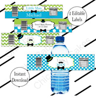Little Man Water Bottle Labels, Turquoise & Lime Green