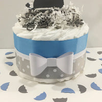 Little Peanut 1-Tier Diaper Cake - Blue & Gray