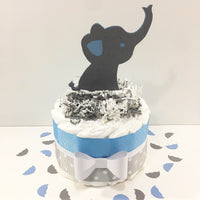 Blue & Gray Boy Elephant Diaper Cake
