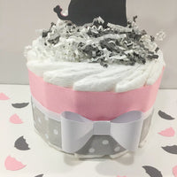 Little Peanut 1-Tier Diaper Cake - Pink & Gray