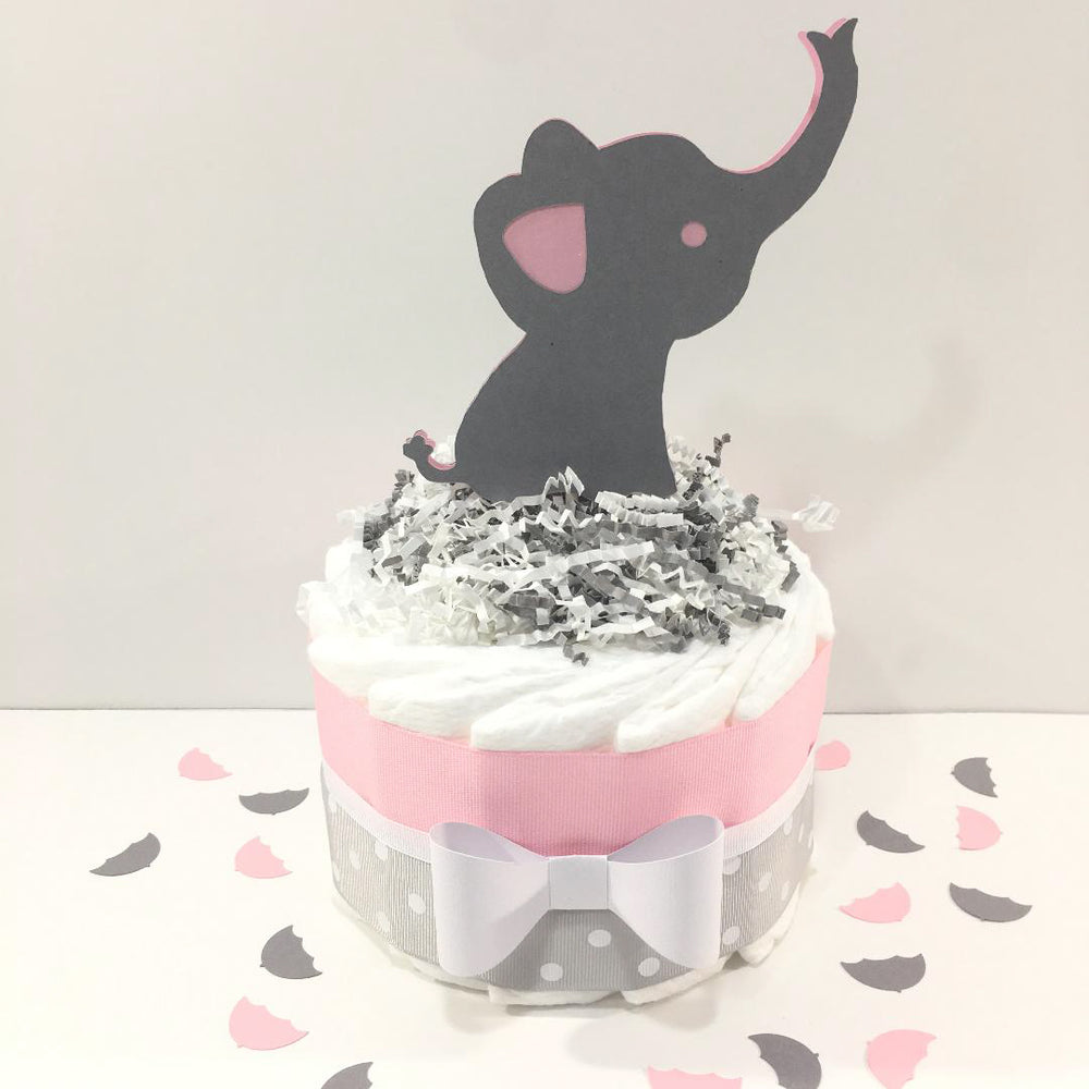 Pink & Gray Girl Elephant Baby Shower Diaper Cake
