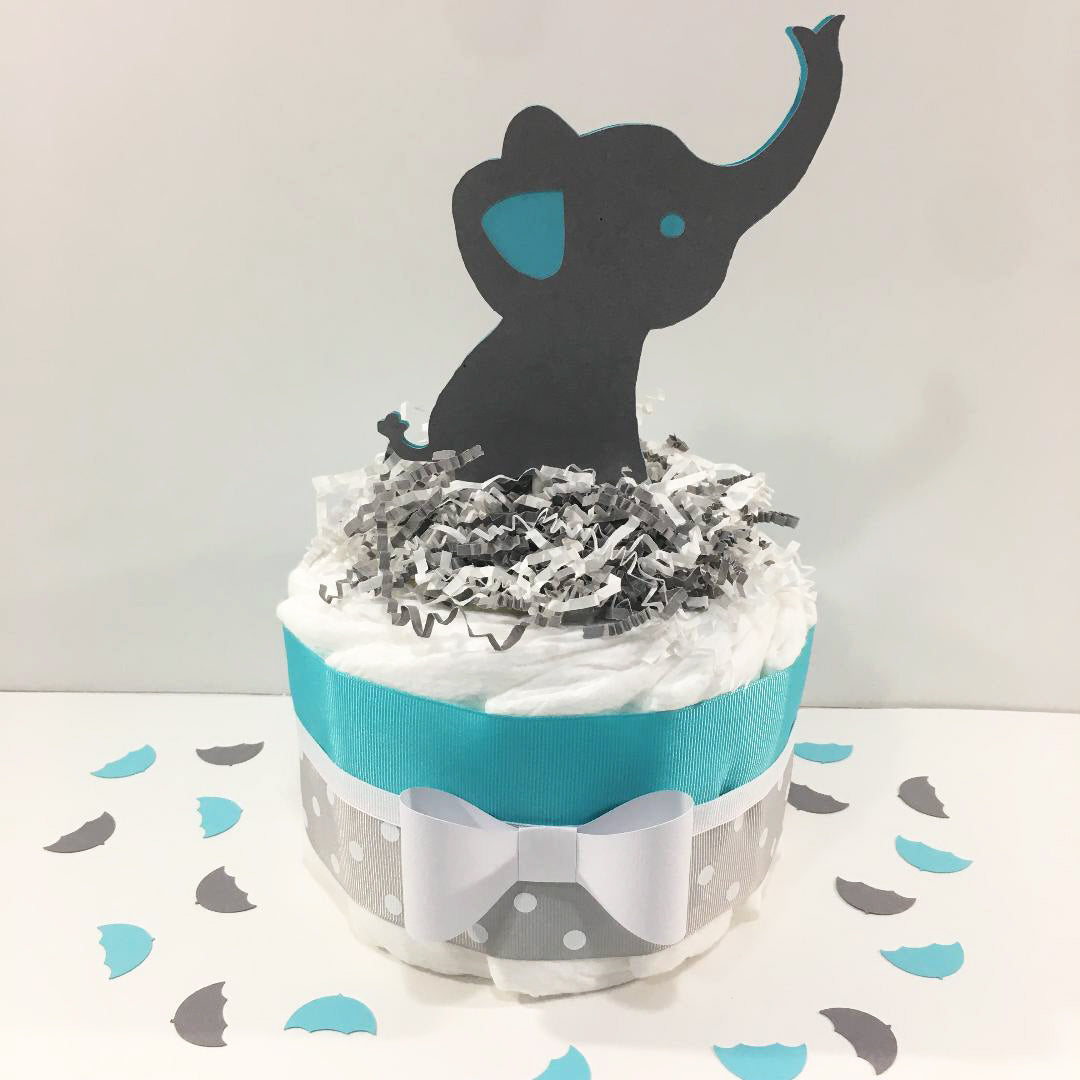 Little Peanut 1-Tier Diaper Cake - Teal,Gray