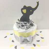Yellow & Gray Elephant Baby Shower Diaper Cake