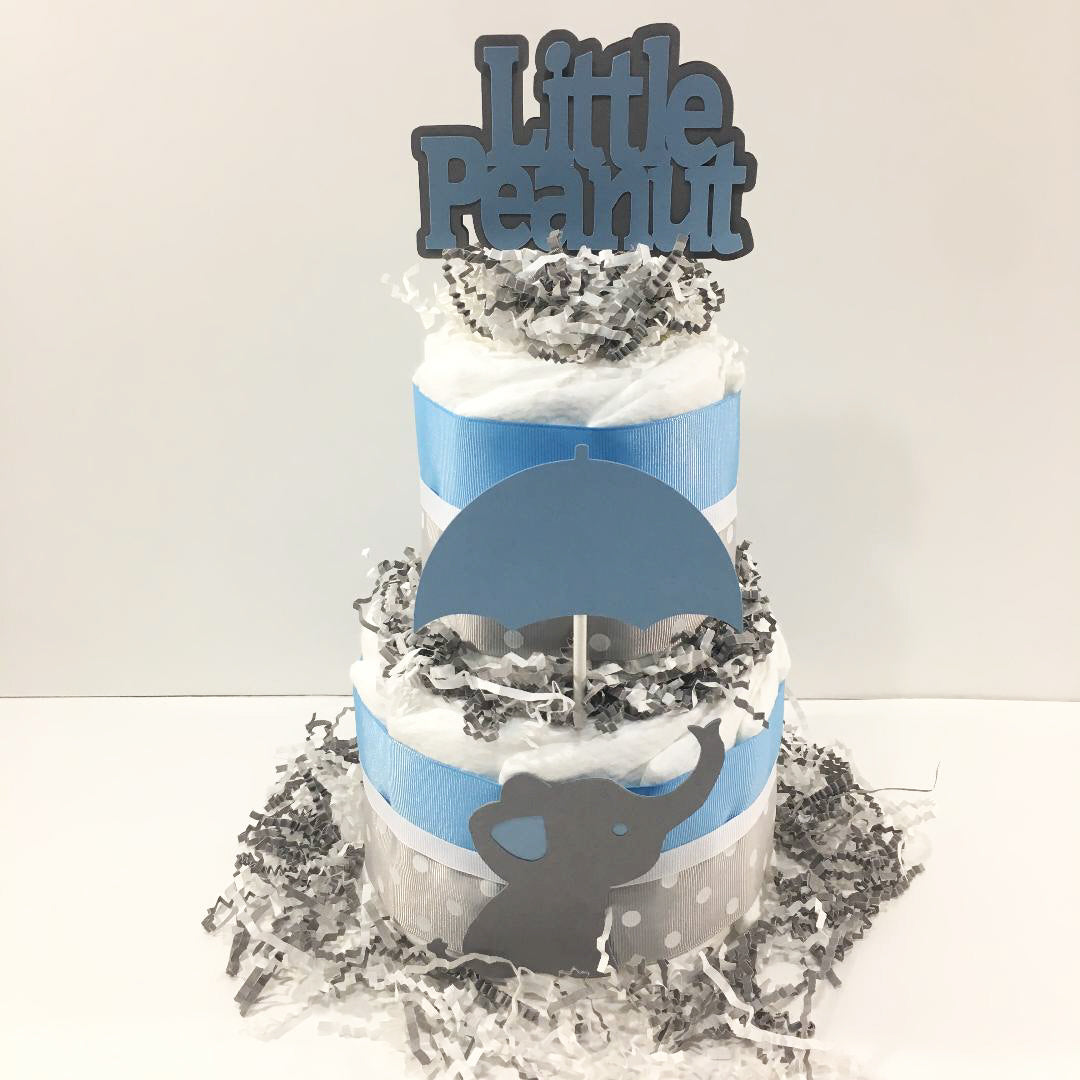 Little Peanut 2-Tier Diaper Cake - Blue & Gray