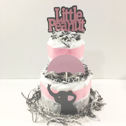 Little Peanut 2-Tier Diaper Cake - Pink & Gray