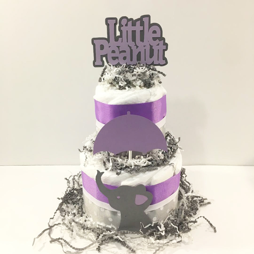 Little Peanut 2-Tier Diaper Cake - Purple & Gray