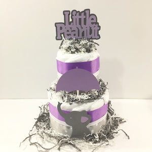 Lavender & Gray Little Peanut Girl Diaper Cake