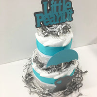 Little Peanut 2-Tier Diaper Cake - Teal, Gray