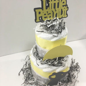 Little Peanut 2-Tier Diaper Cake - Yellow & Gray