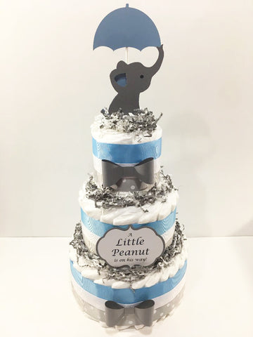 Little Peanut 3-Tier Diaper Cake - Blue & Gray