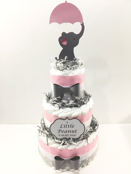 Pink & Gray Little Peanut Diaper Cake Centerpiece