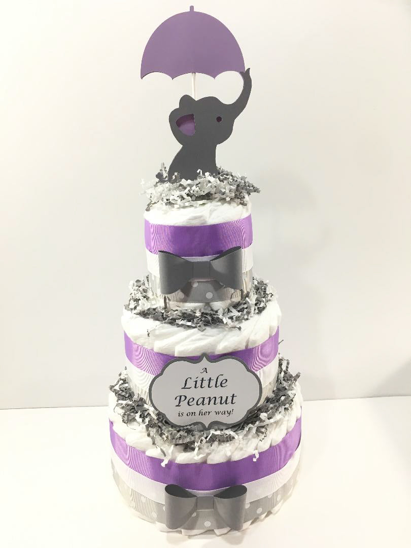 Little Peanut 3-Tier Diaper Cake - Purple & Gray