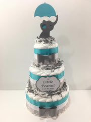 Little Peanut 3-Tier Diaper Cake - Teal, Gray