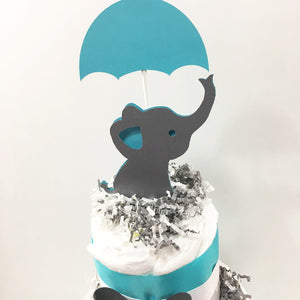 Teal & Gray Elephant Topper
