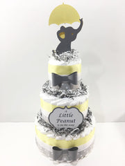 Little Peanut 3-Tier Diaper Cake - Yellow & Gray