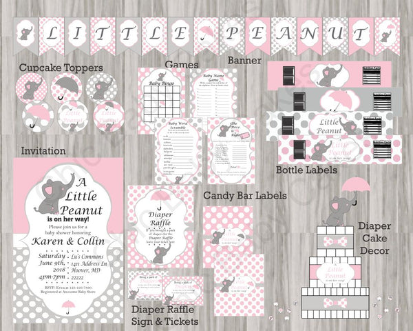 Pink and Gray Little Peanut Baby Shower Decoration Pack