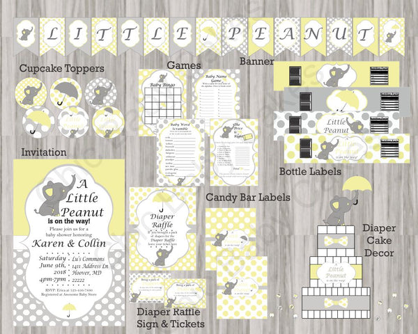 Yellow and Gray Little Peanut Baby Shower Decoration Pack