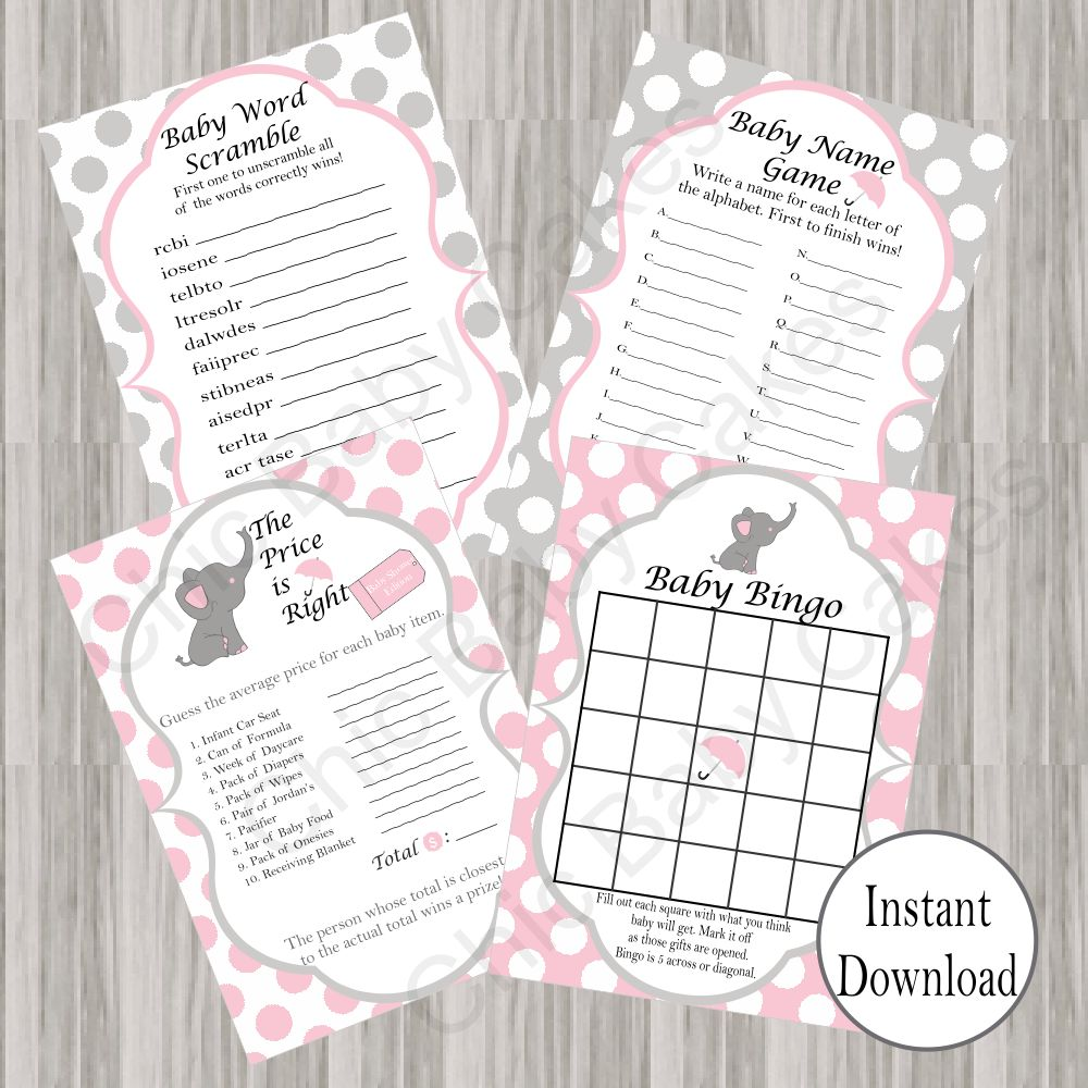 Pink & Gray Little Peanut Baby Shower Games
