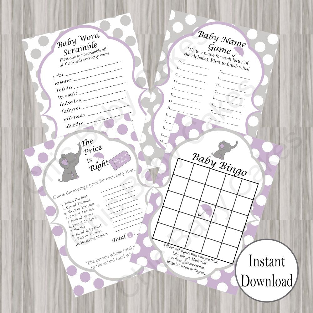Lavender & Gray Little Peanut Baby Shower Games
