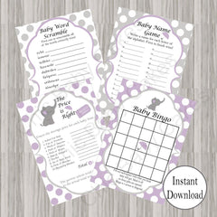 Little Peanut Baby Shower Games - Purple