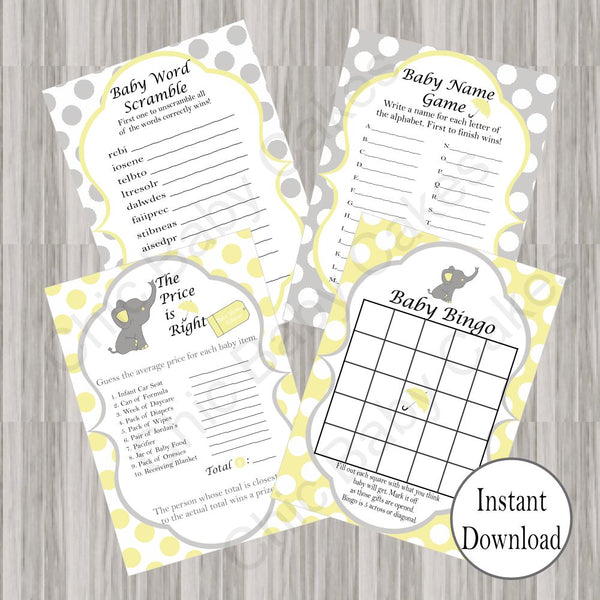Yellow & Gray Little Peanut Baby Shower Games