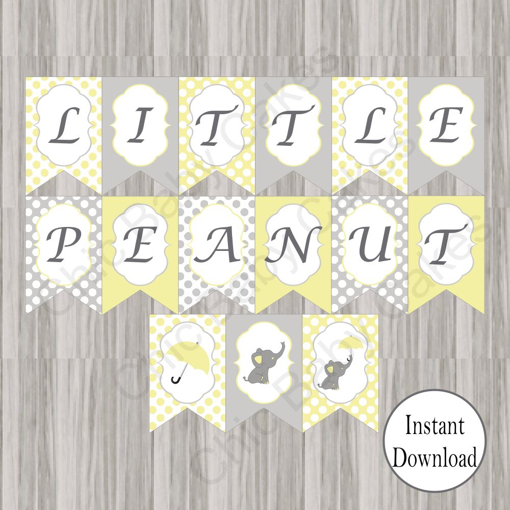 Little Peanut Baby Shower Banner Yellow Chic Baby Cakes