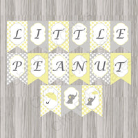 Yellow & Gray Little Peanut Neutral Baby Shower Banner
