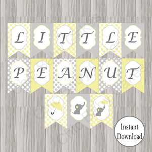 Yellow & Gray Little Peanut Baby Shower Banner