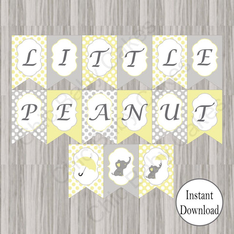 Little Peanut Baby Shower Banner - Yellow