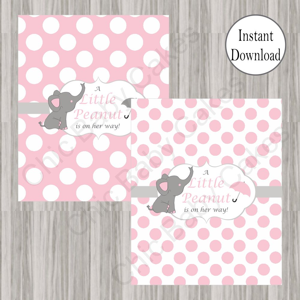 Pink & Gray Little Peanut Candy Bar Wrappers