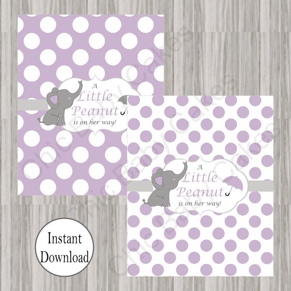 Lavender & Gray Little Peanut Candy Bar Wrappers