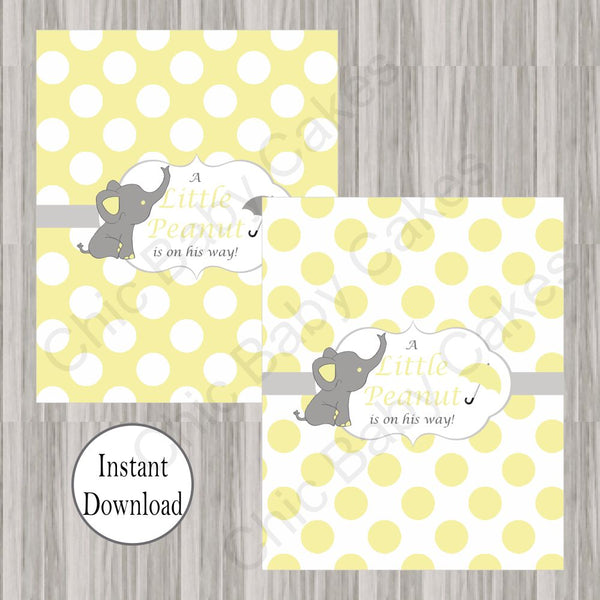 Yellow & Gray Little Peanut Candy Bar Wrappers