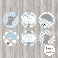 Blue & Gray Little Peanut Cupcake Toppers